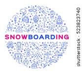 vector snowboarding icon ... | Shutterstock .eps vector #523823740