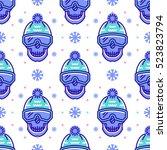 snowboard pattern  winter sport ... | Shutterstock .eps vector #523823794