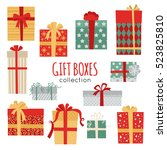 set of vector christmas gift... | Shutterstock .eps vector #523825810