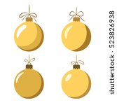 christmas tree ball with bow... | Shutterstock .eps vector #523826938