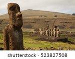 moais in the religious platform ... | Shutterstock . vector #523827508