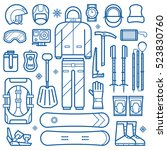 freeride snowboard gear and... | Shutterstock .eps vector #523830760