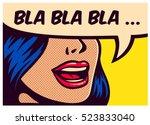pop art style comic book panel... | Shutterstock .eps vector #523833040