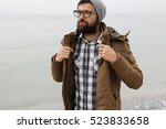 outdoor portrait of a handsome... | Shutterstock . vector #523833658