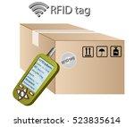 rfid tracking system. rfid... | Shutterstock .eps vector #523835614