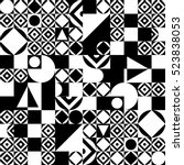 Stock vector decorative ornament black and white geometric pattern geometric background 523838053