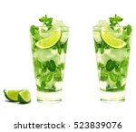mojito isolated on white... | Shutterstock . vector #523839076