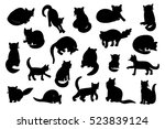 cats silhouette set | Shutterstock .eps vector #523839124