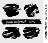 set of grunge black brushstroke ... | Shutterstock .eps vector #523842118