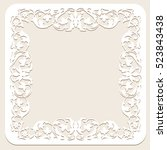 white frame with floral pattern ... | Shutterstock .eps vector #523843438