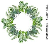 a wreath of tropical leaves | Shutterstock .eps vector #523844368