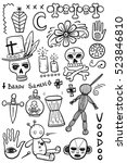 set of hand drawn voodoo objects | Shutterstock .eps vector #523846810
