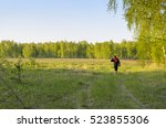 a man walks across the field to ... | Shutterstock . vector #523855306