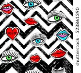 hand drawn fashion patches eyes ... | Shutterstock .eps vector #523861390