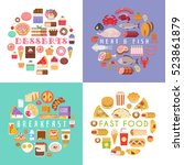 food and drink flat... | Shutterstock .eps vector #523861879