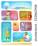 save energy tips for kids. web... | Shutterstock .eps vector #523862908