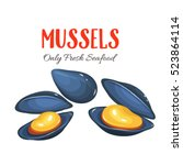 mussels vector illustration in... | Shutterstock .eps vector #523864114