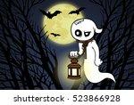 Cartoon Ghost With A Lantern I...