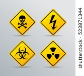 danger vector sign set isolated ... | Shutterstock .eps vector #523871344