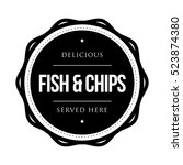 fish and chips vintage stamp | Shutterstock .eps vector #523874380
