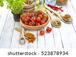 spices tomatoes kitchen table... | Shutterstock . vector #523878934