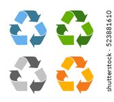 triangle recycled eco vector... | Shutterstock .eps vector #523881610