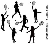 silhouettes of children playing ... | Shutterstock .eps vector #523885183