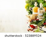 herbs and spices selectionon... | Shutterstock . vector #523889524