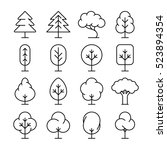 tree thin line icons set.... | Shutterstock . vector #523894354