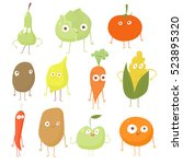 set food character vegetables.... | Shutterstock .eps vector #523895320