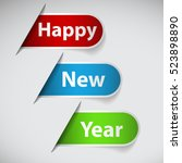 happy new year on labels | Shutterstock .eps vector #523898890