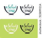 salad hand lettering design.... | Shutterstock .eps vector #523899214