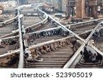 railway tracks in the subway... | Shutterstock . vector #523905019