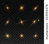 glowing lights and stars on... | Shutterstock .eps vector #523905478