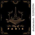 city of paris monogram vector... | Shutterstock .eps vector #523905994