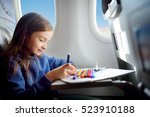 adorable little girl traveling... | Shutterstock . vector #523910188