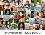 mosaic mix collage of young... | Shutterstock . vector #523910470