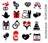 wedding marriage bridal icons... | Shutterstock . vector #523911508