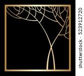 vector art deco golden frame...
