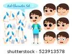 kid character set with parts of ... | Shutterstock .eps vector #523913578