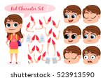 kid character set with parts of ... | Shutterstock .eps vector #523913590