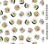 seamless pattern of sushi | Shutterstock .eps vector #523919344