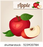 detailed icon. red apple.... | Shutterstock . vector #523920784