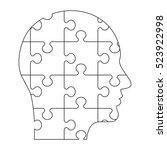 vector puzzles human profile.... | Shutterstock .eps vector #523922998