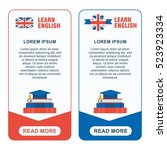 set of learn english banners.... | Shutterstock .eps vector #523923334