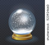 realistic christmas snow globe... | Shutterstock .eps vector #523924660