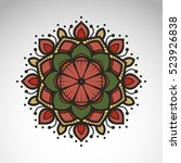 vector abstract flower mandala. ... | Shutterstock .eps vector #523926838