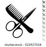 comb and scissors   black... | Shutterstock .eps vector #523927018
