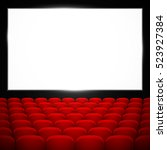 cinema auditorium with red... | Shutterstock .eps vector #523927384
