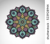 vector abstract flower mandala. ... | Shutterstock .eps vector #523928944